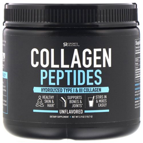 Sports Research, Collagen Peptides, Hydrolyzed Type I & III Collagen, Unflavored, 3.9 oz (110.7 g) Review