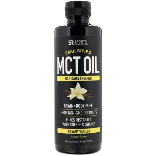 Sports Research, Emulsified MCT Oil, Creamy Vanilla, 16 fl oz (473 ml) Review