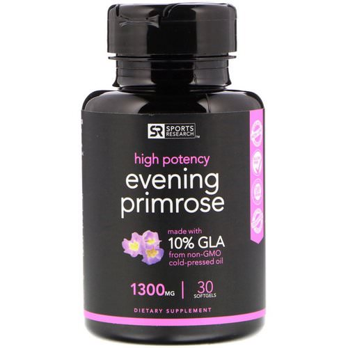 Sports Research, Evening Primrose Oil, 1300 mg, 30 Softgels Review