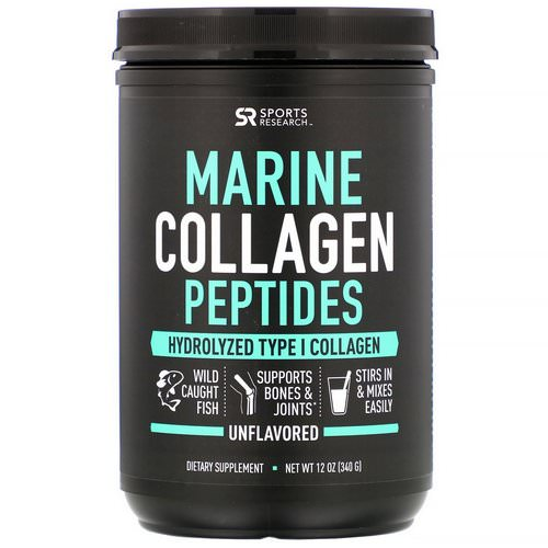 Sports Research, Marine Collagen Peptides, Unflavored, 12 oz (340 g) Review