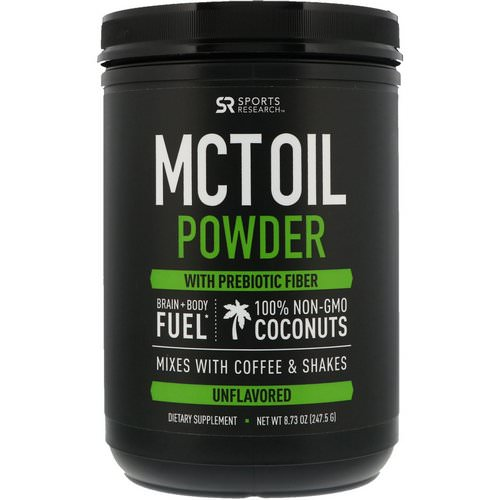 Sports Research, MCT Oil Powder with Prebiotic Fiber, Unflavored, 8.73 oz (247.5 g) Review
