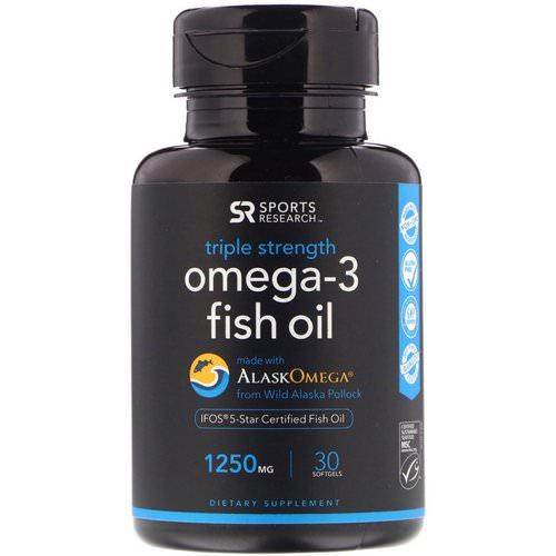Sports Research, Omega-3 Fish Oil, Triple Strength, 1250 mg, 30 Softgels Review