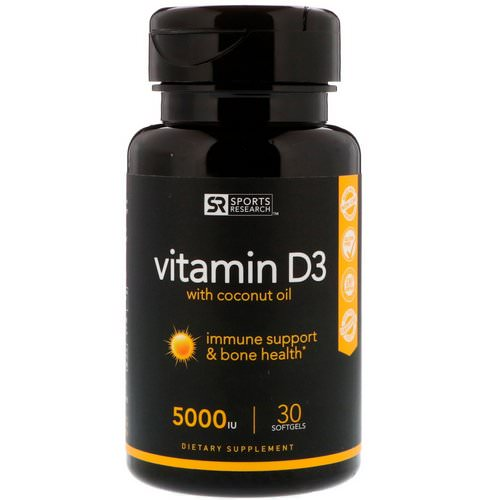 Sports Research, Vitamin D3 with Coconut Oil, 125 mcg (5000 IU), 30 Softgels Review