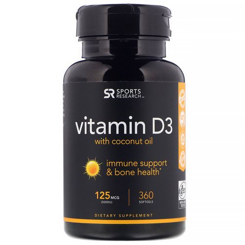 Sports Research, Vitamin D3 with Coconut Oil, 125 mcg (5000 IU), 360 Softgels Review