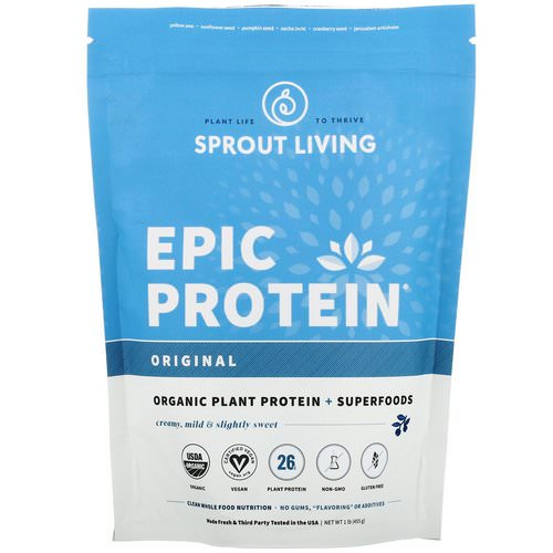 Sprout Living, Epic Plant Protein Plus Superfoods, Original, 1 lb (455 g) Review
