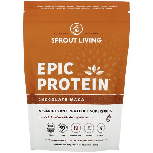 Sprout Living, Epic Protein, Chocolate Maca, 1 lb (455 g) Review