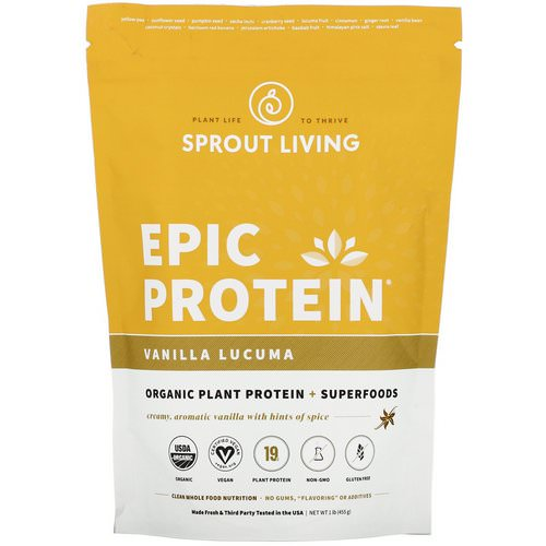 Sprout Living, Epic Protein, Vanilla Lucuma, 1 lb (455 g) Review