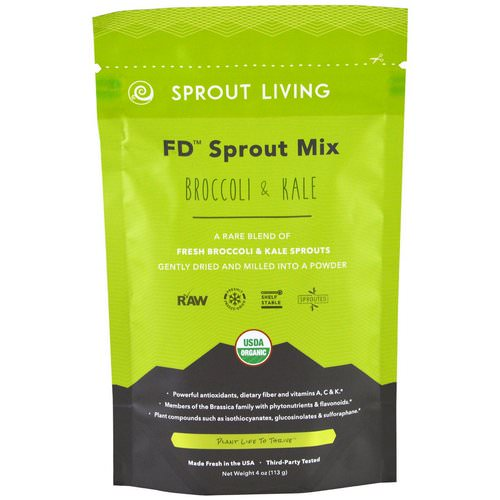 Sprout Living, FD Sprout Mix, Broccoli & Kale, 4 oz (113 g) Review