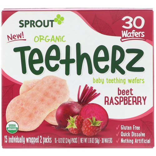 Sprout Organic, Teetherz, Baby Teething Wafers, Beet Raspberry, 30 Wafers Review