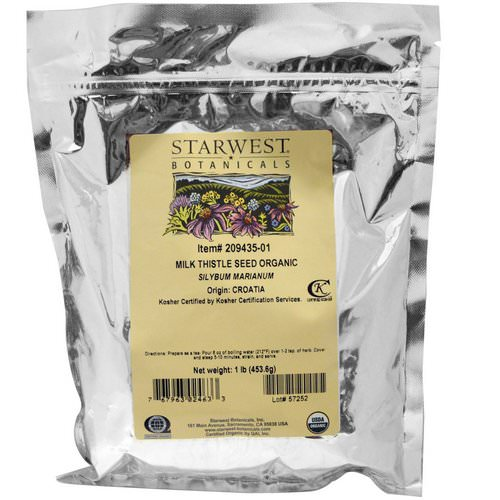 Starwest Botanicals, Milk Thistle Seed Whole, Organic, 1 lb (453.6 g) Review