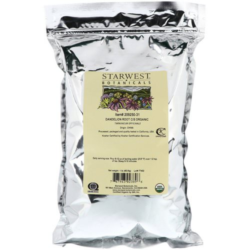 Starwest Botanicals, Organic, Dandelion Root C/S, 1 lb (453.6 g) Review