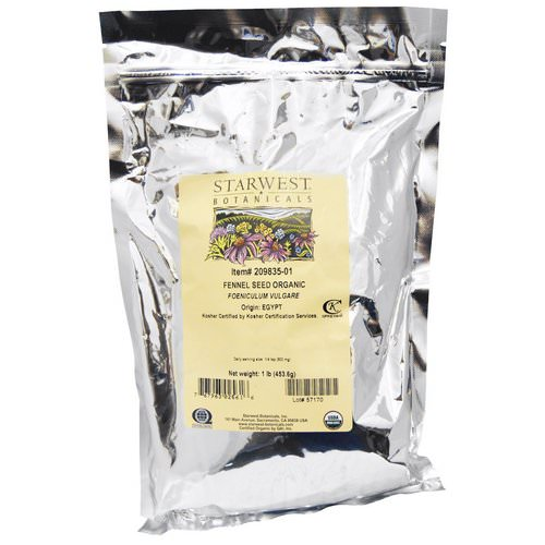 Starwest Botanicals, Organic, Fennel Seed, 1 lb (453.6 g) Review