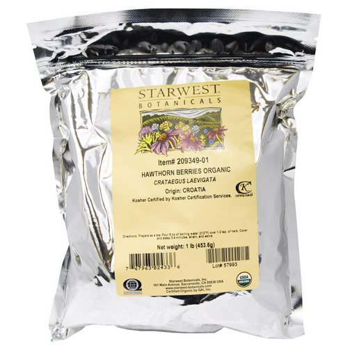 Starwest Botanicals, Organic, Hawthorn Berries, 1 lb (453.6 g) Review