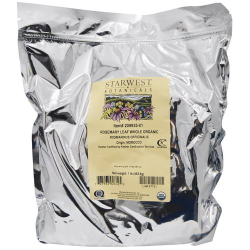 Starwest Botanicals, Organic Rosemary Leaf Whole, 1 lb (453.6 g) Review