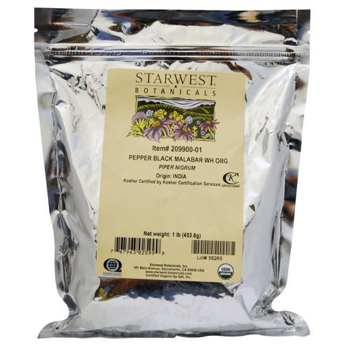 Starwest Botanicals, Organic Whole Pepper Black Malabar, 1 lb (453.6 g) Review
