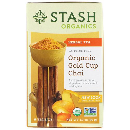 Stash Tea, Herbal Tea, Organic Gold Cup Chai, Caffeine Free, 18 Tea Bags, 1.2 oz (36 g) Review