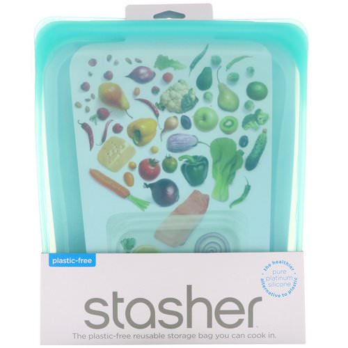 Stasher, Reusable Silicone Food Bag, Half Gallon Bag, Aqua, 64.2 fl oz (1.92 l) Review