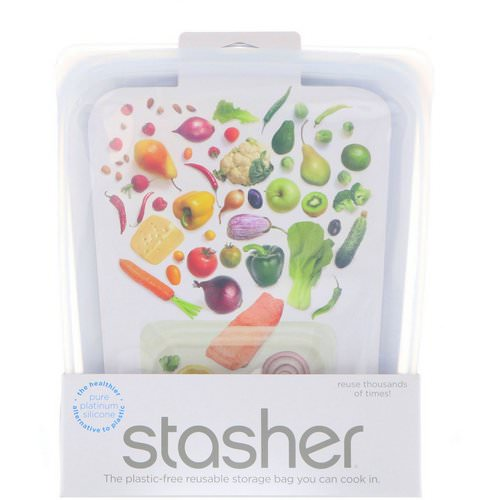 Stasher, Reusable Silicone Food Bag, Half Gallon Bag, Clear, 64.2 fl oz (1.92 l) Review