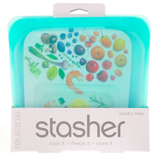Stasher, Reusable Silicone Food Bag, Sandwich Size Medium, Aqua, 15 fl oz (450 ml) Review
