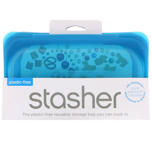 Stasher, Reusable Silicone Food Bag, Snack Size Small, Blue, 9.9 fl oz (293.5 ml) Review
