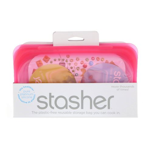Stasher, Reusable Silicone Food Bag, Snack Size Small, Raspberry, 9.9 fl oz (293.5 ml) Review