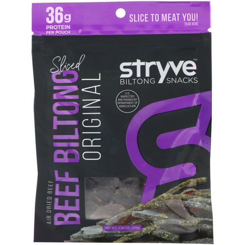 Stryve Foods, Biltong Snacks, Sliced Beef Biltong, Original, 2.25 oz (64 g) Review