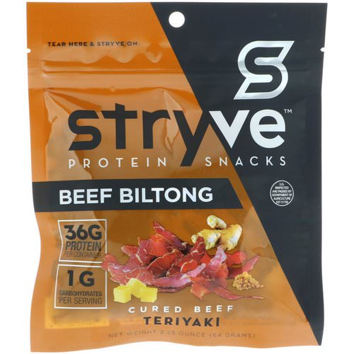 Stryve Foods, Protein Snacks Beef Biltong, Teriyaki, 2.25 oz (64 g) Review