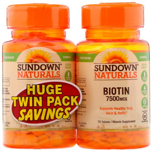 Sundown Naturals, Biotin, Twin Pack, 7,500 mcg, 75 Tablets Each Review