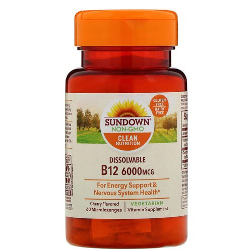 Sundown Naturals, Dissolvable B12, Cherry Flavored, 6,000 mcg, 60 Microlozenges Review