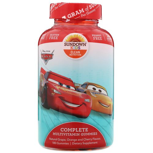 Sundown Naturals Kids, Complete Multivitamin Gummies, Disney Cars, Natural Grape, Orange & Cherry Flavors, 180 Gummies Review