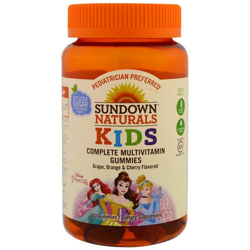 Sundown Naturals Kids, Complete Multivitamin Gummies, Disney Princess, Grape, Orange & Cherry, 60 Gummies Review