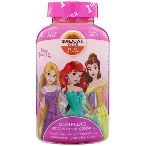 Sundown Naturals Kids, Complete Multivitamin Gummies, Disney Princess, Natural Grape, Orange & Cherry Flavors, 180 Gummies Review