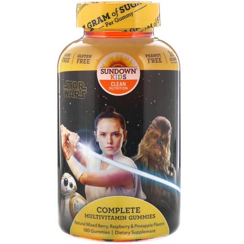 Sundown Naturals Kids, Complete Multivitamin Gummies, Disney Star Wars, Mixed Berry, Raspberry & Pineapple, 180 Gummies Review