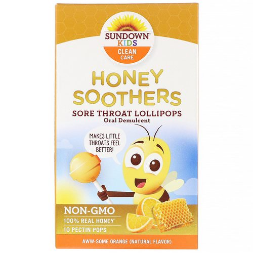Sundown Naturals Kids, Honey Soother, Sore Throat Lollipops, Aww-Some Orange, 10 Pectin Pops Review