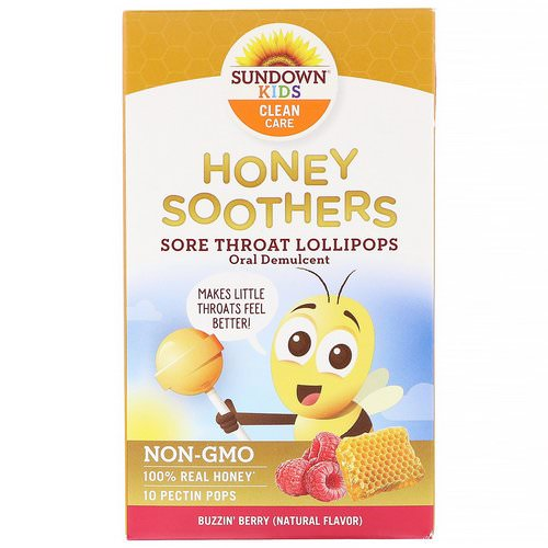 Sundown Naturals Kids, Honey Soother, Sore Throat Lollipops, Buzzin' Berry, 10 Pectin Pops Review