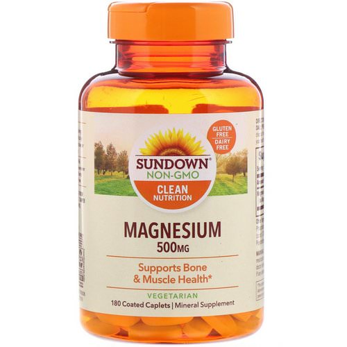 Sundown Naturals, Magnesium, 500 mg, 180 Coated Caplets Review