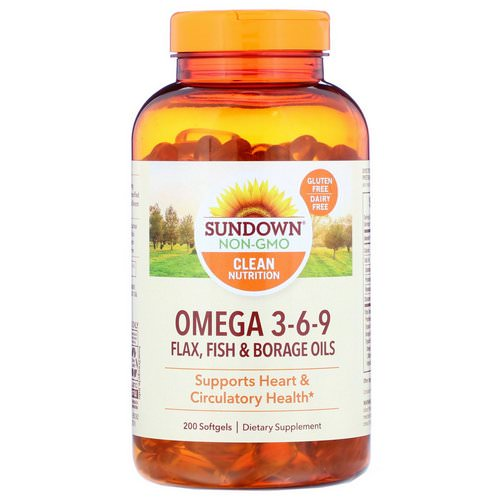 Sundown Naturals, Omega 3-6-9 Flax, Fish & Borage Oils, 200 Softgels Review