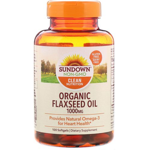 Sundown Naturals, Organic Flaxseed Oil, 1000 mg, 100 Softgels Review