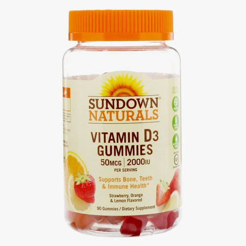 Sundown Naturals, Vitamin D3 Gummies, Strawberry, Orange, & Lemon Flavored, 50 mcg /2,000 IU, 90 Gummies Review