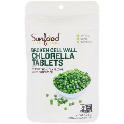 Sunfood, Broken Cell Wall Chlorella Tablets, 250 mg, 228 Tablets, 2 oz (57 g) Review
