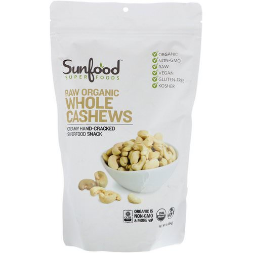 Sunfood, Raw Organic Whole Cashews, 1 lb (454 g) Review
