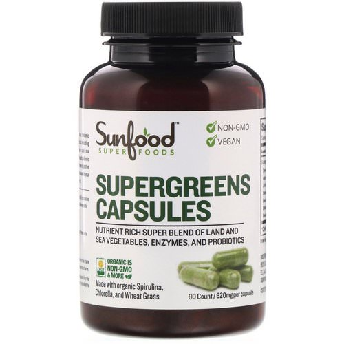 Sunfood, Supergreens Capsules, 620 mg, 90 Capsules Review