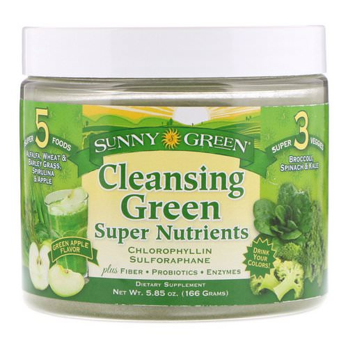 Sunny Green, Cleansing Green Super Nutrients, Green Apple, 5.85 oz (166 g) Review