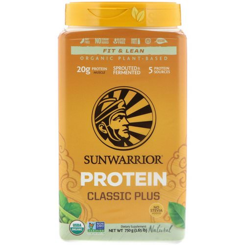 Sunwarrior, Classic Plus Protein, Organic Plant Based, Natural, 1.65 lb (750 g) Review
