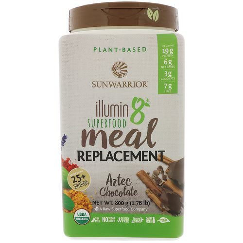 Sunwarrior, Illumin8, Plant-Based Organic Superfood Meal Replacement, Aztec Chocolate, 1.76 lb (800 g) Review