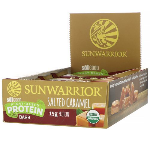Sunwarrior, Sol Good, Plant-Based Protein Bars, Salted Caramel, 12 Bars, 2.04 oz (58 g) Each Review