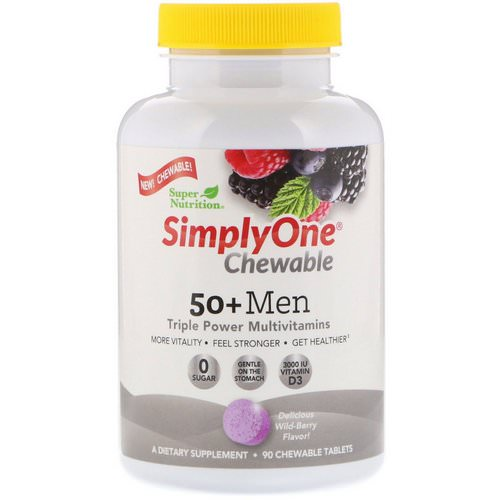 Super Nutrition, SimplyOne, 50+ Men Triple Power Multivitamin, Wild-Berry Flavor, 90 Chewable Tablets Review
