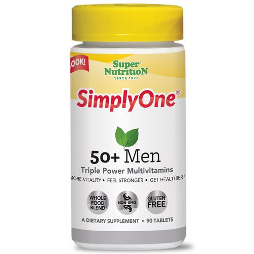 Super Nutrition, SimplyOne, 50+ Men Triple Power Multivitamins, 90 Tablets Review
