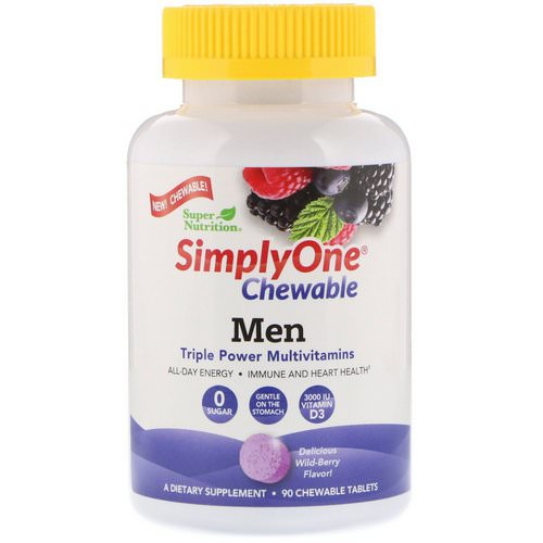 Super Nutrition, SimplyOne, Men Triple Power Multivitamin, Wild-Berry Flavor, 90 Chewable Tablets Review