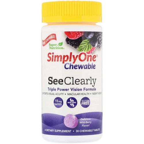 Super Nutrition, SimplyOne, See Clearly, Triple Power Vision Formula, Wild-Berry Flavor, 30 Chewable Tablets Review